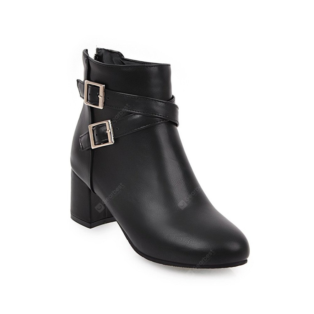 BLACK Fashion Womens Pointed Toe Chunky Heel Buckle Zip Ankle Boots