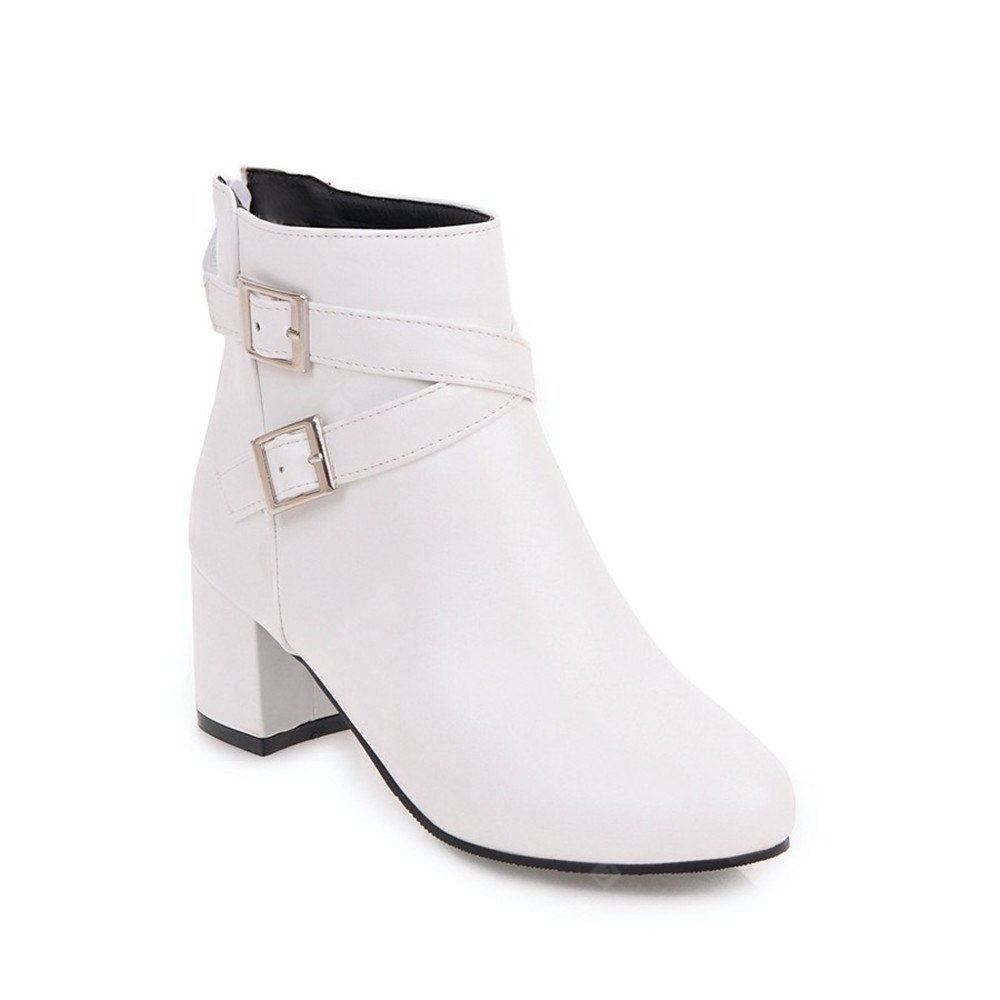 WHITE Fashion Womens Pointed Toe Chunky Heel Buckle Zip Ankle Boots