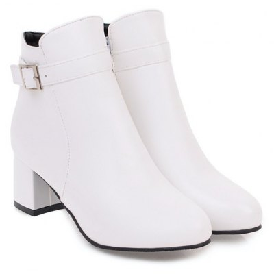 Buy WHITE Fashion Womens Pointed Toe Chunky Heel Buckle Ankle Zip Boots for $51.81 in GearBest store