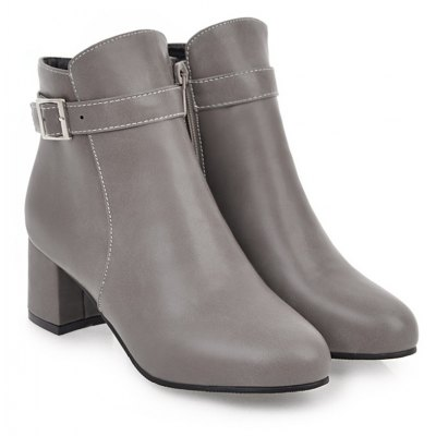 Buy GRAY Fashion Womens Pointed Toe Chunky Heel Buckle Ankle Zip Boots for $51.81 in GearBest store