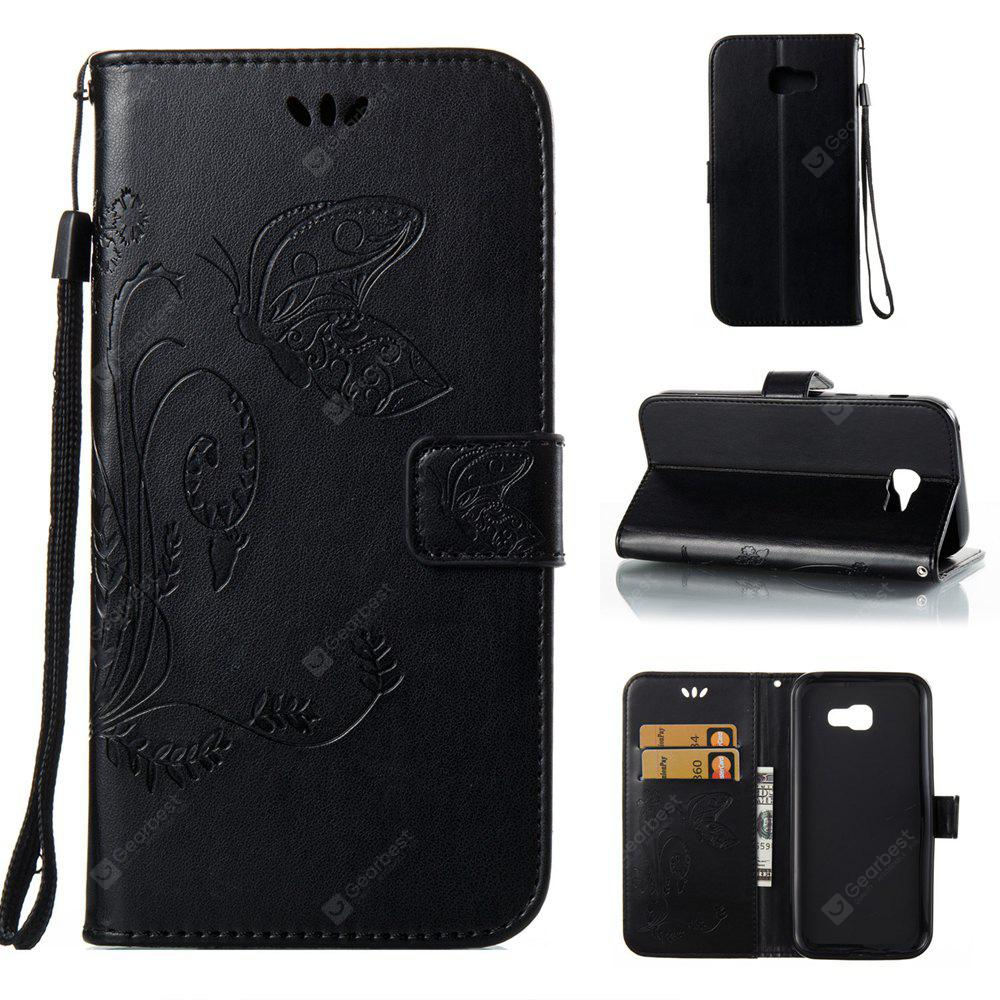Wkae Flowers Embossing Pattern PU Leather Flip Stand Case Cover for Samsung Galaxy A7 2017