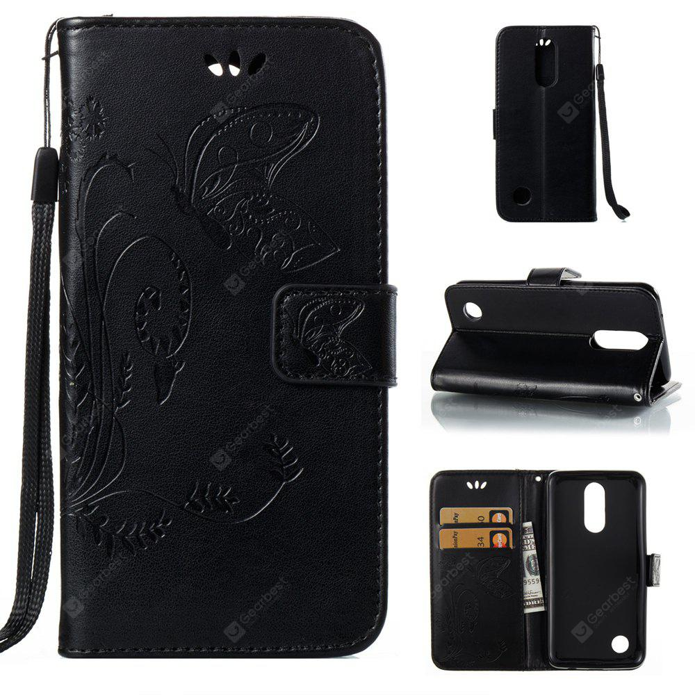 Wkae Flowers Embossing Pattern Pu Leather Flip Stand Case Cover for Lg K4 2017 American Edition