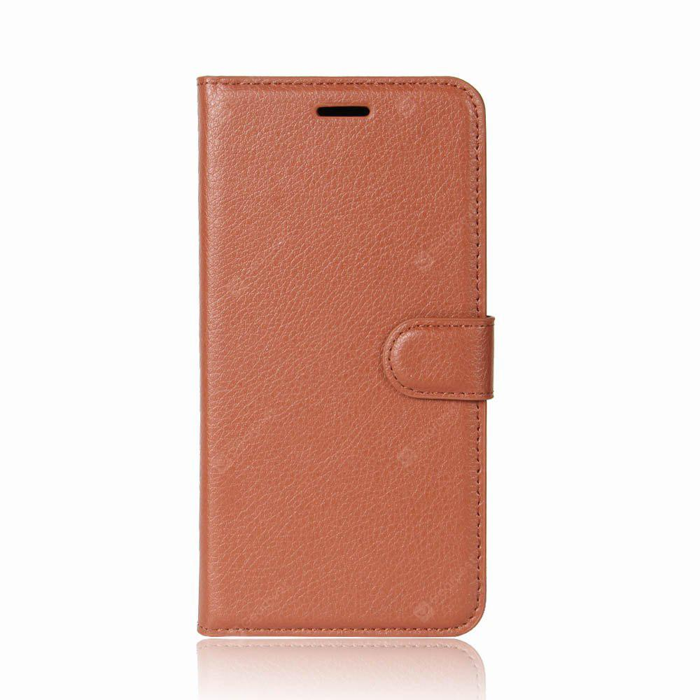Solid Color Litchi Pattern Wallet Style Front Buckle Flip PU Leather Case with Card Slots for Blackview A7