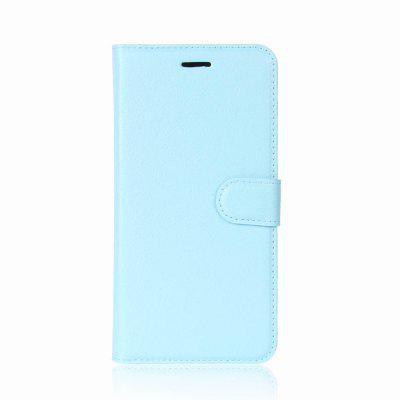 Solid Color Litchi Pattern Wallet Style Front Buckle Flip PU Leather Case with Card Slots for Meizu M6 Note