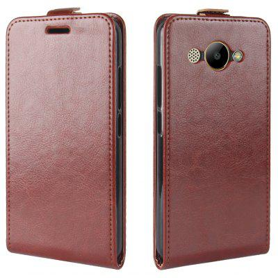 Durable Crazy Horse Pattern Up and Down Style Flip Buckle PU Leather Case for Huawei Y3 2017