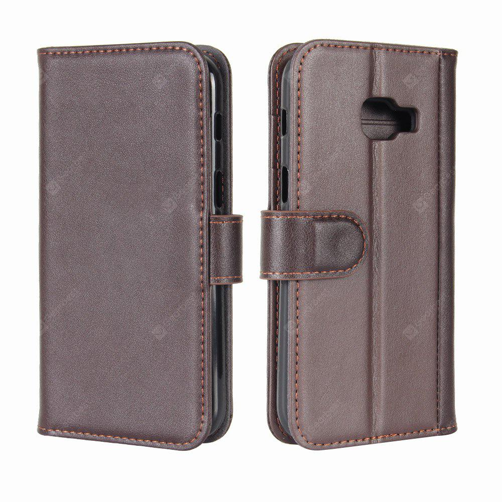 Solid Color Real Cow Leather Wallet Style Front Buckle Flip Case with Card Slots for Samsung Galaxy A7 2017