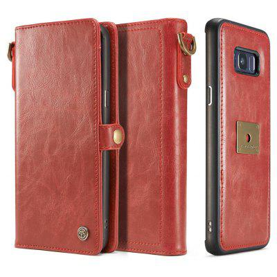 Pu Leather Wallet Phone Case Protective Folio Flip Cover with Removable Hand Straps Case for Samsung Galaxy S8 Plus