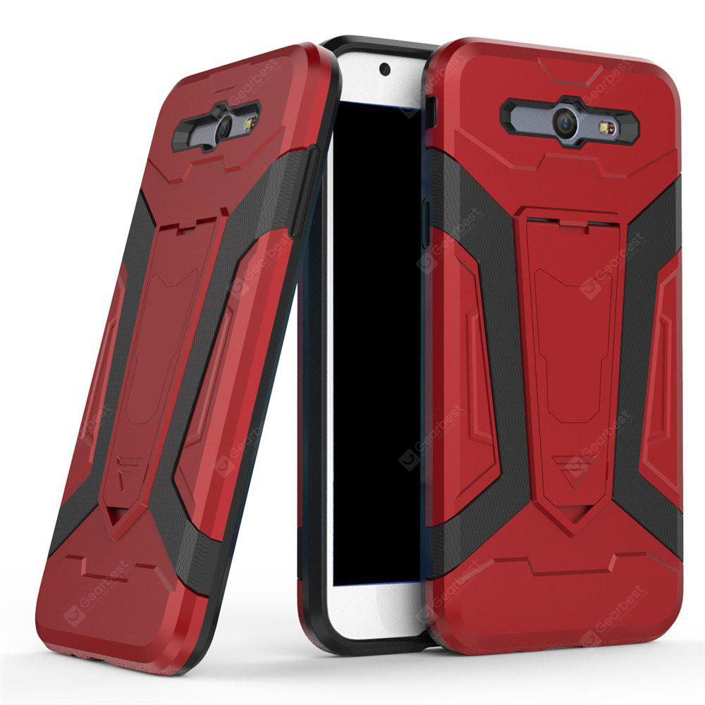 Hybrid Dual Layer Rugged Shockproof Drop Proof Hard Back Cover Pc with Slilcone Kickstand Protective Case for Samsung Galaxy J7 2017