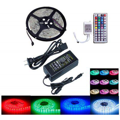 Buy BLACK OMTO LED Light Strip DC12V Power Supply 5M / 16.4FT 60LEDS / M SMD 5050 RGB 300LED Color Changing Kit with 44 Key IR Controller for $22.19 in GearBest store