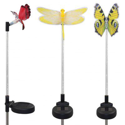 3PCS couleur fibre optique solaire changeant Dragonfly Butterfly Hummingbird Garden Stake Light