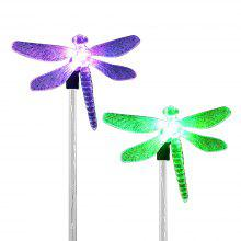 2PCS Solar Color-changing Dragonfly Outdoor Garden Stake Light