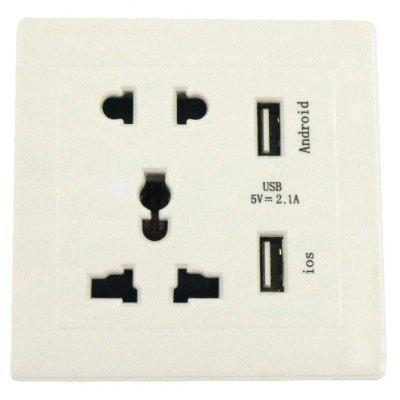 AC110-250V / 13A With Dual USB Multi-Function AC Power Socket Panel