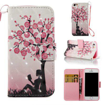 Buy COLORMIX Plum Tree Girl 3D Painted Pu Phone Case for iPhone 5S / SE for $4.65 in GearBest store