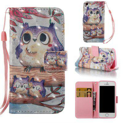 Purple Owl 3D Painted Pu Phone Case for iPhone 5S / SE