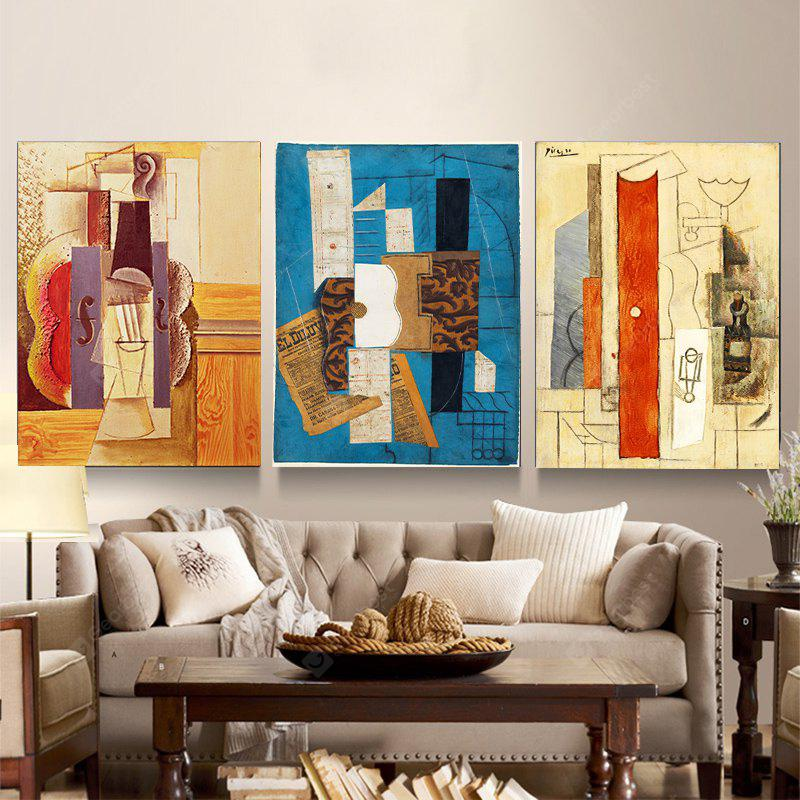 Colourful Abstract Frameless Triple Decorative Painting 12 x 16 inch