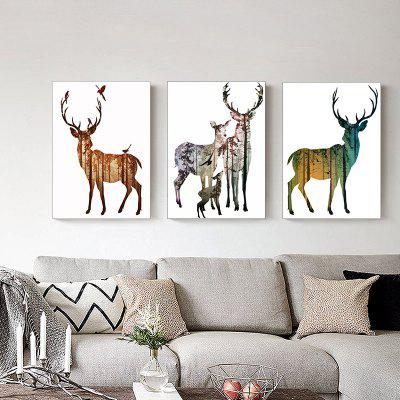 Colorful Elk Nordic A Modern Minimalist Triple Frameless Painting 12 x 16 pouces