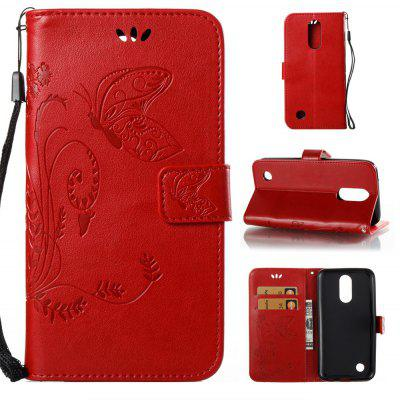 Buy RED Wkae Flowers Embossing Pattern Pu Leather Flip Stand Case Cover for Lg K10 2017 for $5.78 in GearBest store