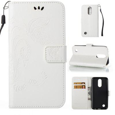 Buy WHITE Wkae Flowers Embossing Pattern Pu Leather Flip Stand Case Cover for Lg K10 2017 for $5.78 in GearBest store