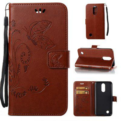 Buy DEEP BROWN Wkae Flowers Embossing Pattern Pu Leather Flip Stand Case Cover for Lg K10 2017 for $5.78 in GearBest store