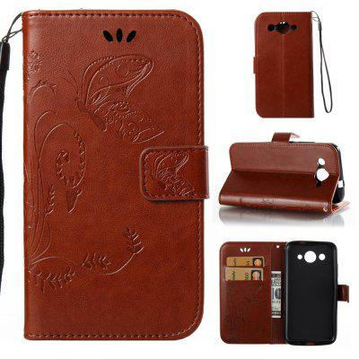 Buy DEEP BROWN Wkae Flowers Embossing Pattern PU Leather Flip Stand Case Cover for Huawei Y3 2017 for $5.78 in GearBest store