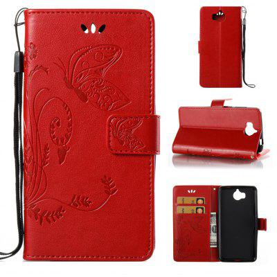 Buy RED Wkae Flowers Embossing Pattern PU Leather Flip Stand Case Cover for Huawei Y5 2017 for $5.78 in GearBest store