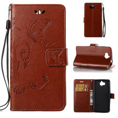Buy DEEP BROWN Wkae Flowers Embossing Pattern PU Leather Flip Stand Case Cover for Huawei Y5 2017 for $5.78 in GearBest store