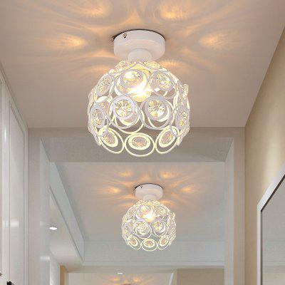 Everflower Retro Metal Crystal Hollow Semi Flush Mount Ceiling Light with 1 E26/E27 Bulb Socket Max 60W Painted Finish