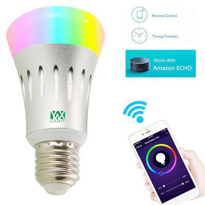 Ywxlight E27 Wi-Fi Multicolored Led Bulbs Dimmable Smartphone Controlled Ac 85 - 265VSmart Lighting<br>Ywxlight E27 Wi-Fi Multicolored Led Bulbs Dimmable Smartphone Controlled Ac 85 - 265V<br><br>Available Light Color: RGBW<br>Body Color: Silver<br>Features: WiFi, Long Life Expectancy, Energy Saving, Easy to use, APP Control<br>Function: Home Lighting, Studio and Exhibition Lighting, Commercial Lighting<br>Holder: E27<br>Lifespan: ?30000 hours<br>Luminous Flux: 600 - 700 LM<br>Output Power: 7W<br>Package Contents: 1 x Ywxlight Intelligent Light Bulb, 1 x Ywxlight English Product Manual<br>Package size (L x W x H): 12.00 x 6.30 x 6.30 cm / 4.72 x 2.48 x 2.48 inches<br>Package weight: 0.1320 kg<br>Product size (L x W x H): 11.00 x 5.80 x 5.80 cm / 4.33 x 2.28 x 2.28 inches<br>Product weight: 0.1190 kg<br>Sheathing Material: Die-casting Aluminum<br>Voltage (V): AC100-260V
