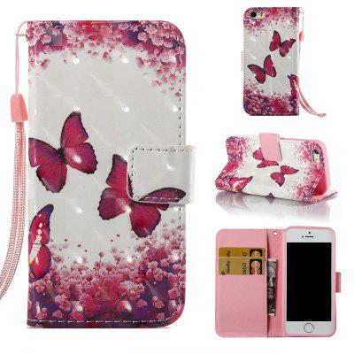Buy COLORMIX Rose Butterfly 3D Painted Pu Phone Case for iPhone 5S / SE for $4.65 in GearBest store