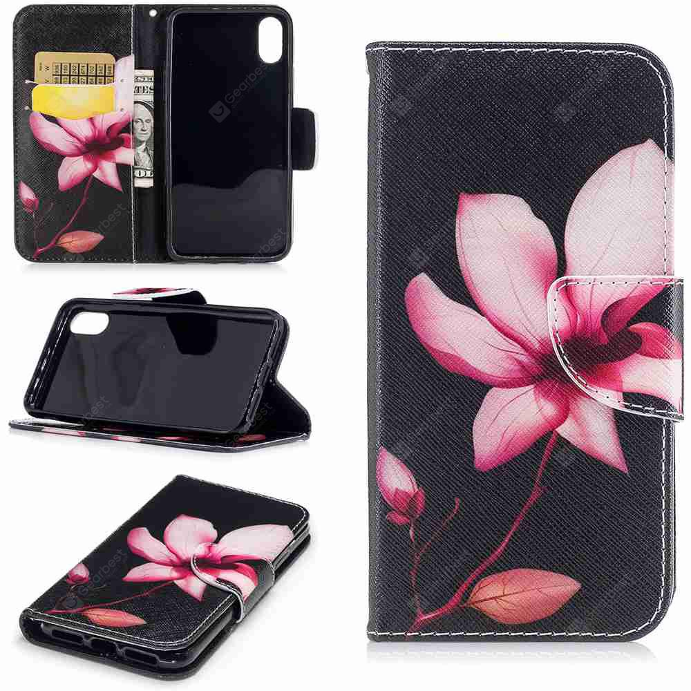 Lotus Painted Pu Phone Case for iPhone X