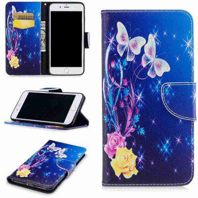 Buy COLORMIX Yellow Butterfly Painted Pu Phone Case for iPhone 5S/Se for $4.28 in GearBest store