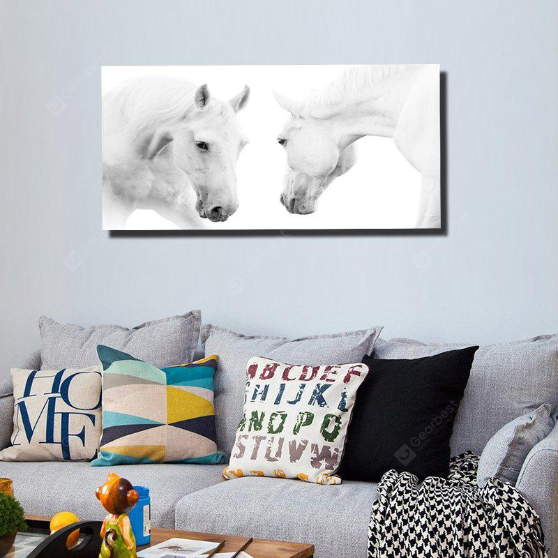 Colorful Modern Simple White Horse Black White Photography Frameless Painting 20 x 39 inch