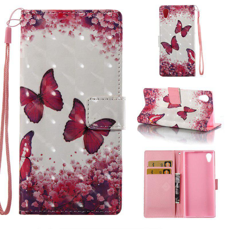 COLORMIX Rose Butterfly, 13d Painted Pu Phone Case for Sony Xa 2017