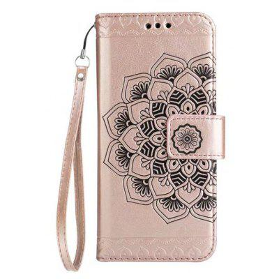 WKae Half Flowers Embossed Pattern Premium PU Leather Wallet Pouch Case with Kickstand Lanyard Card Slots for Samsung Galaxy J5 Prime