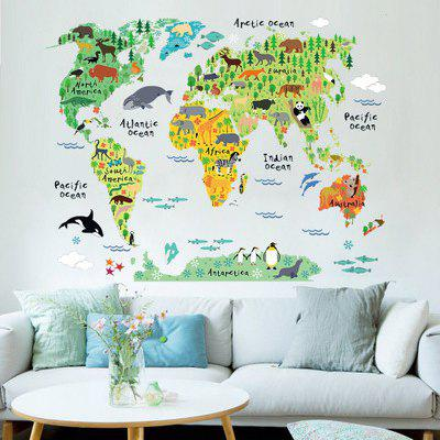 Yeduoworld Map Animals Wall Stickers Room Decorations Cartoon Mural Art Zoo Children Home Decals Posters
