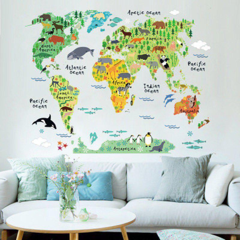 Yeduoworld Map Animals Wall Stickers Room Decorations Cartoon Mural Art Zoo Children Home Decals Posters, COLORMIX, Home & Garden, Home Decors, Wall Art, Wall Stickers