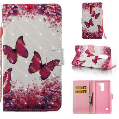 Rose Butterfly 3D Painted Pu Phone Case for Lg Stylus2 Ls775