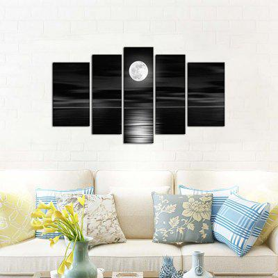 Yhhp 5 Panels Night Sea Landscape Picture Print Modern Wall Art On Canvas Unframed