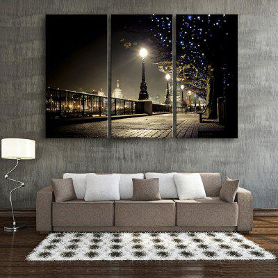 Buy BLACK YC Stretched LED Canvas Print Art The Bright Street Flash Effect Optical Fiber Print 3pcs for $153.73 in GearBest store