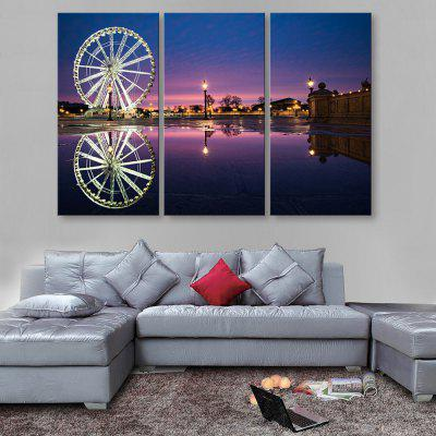Buy BLUE AND WHITE YC Stretched LED Canvas Print Art The Ferris Wheel Flash Effect Optical Fiber Print 3pcs for $179.96 in GearBest store
