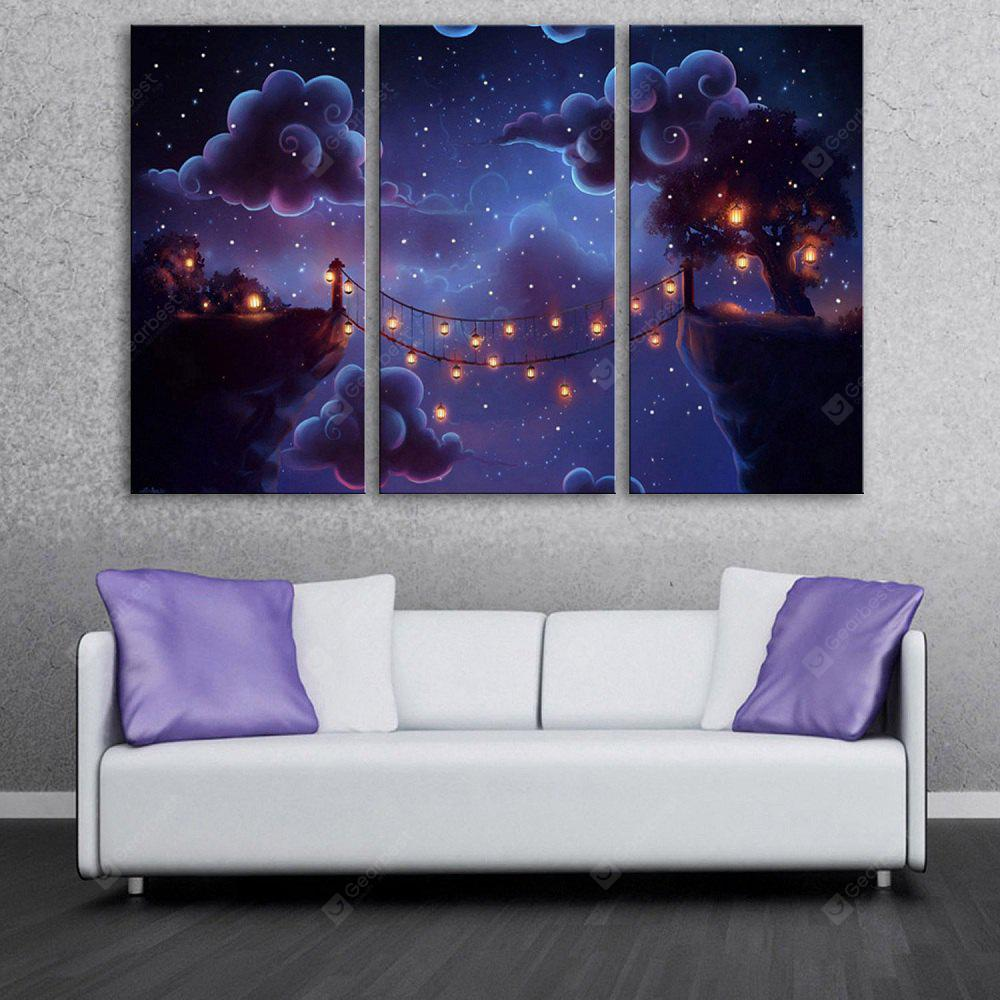 YC Stretched LED Canvas Print Art The Cartoon Clouds Flash Effect  Optical Fiber Print 3pcs