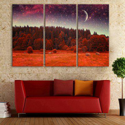 YC Stretched LED Canvas Print Art The Red Forest Flash Effect  Optical Fiber Print 3pcs