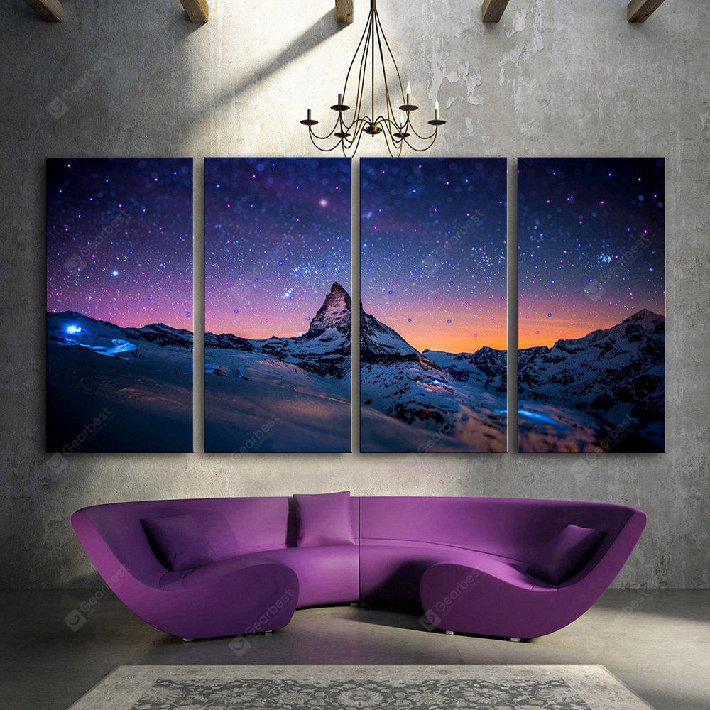 YC Stretched LED Canvas Print Art The Blue Mountain Flash Effect  Optical Fiber Print 4pcs