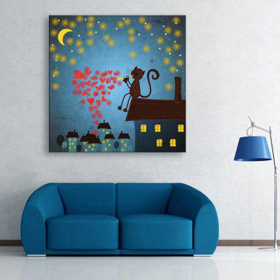 Buy LIGHT BLUE YC Stretched LED Canvas Print Art The Kitten Love Flash Effect Optical Fiber Print 1pc for $68.77 in GearBest store