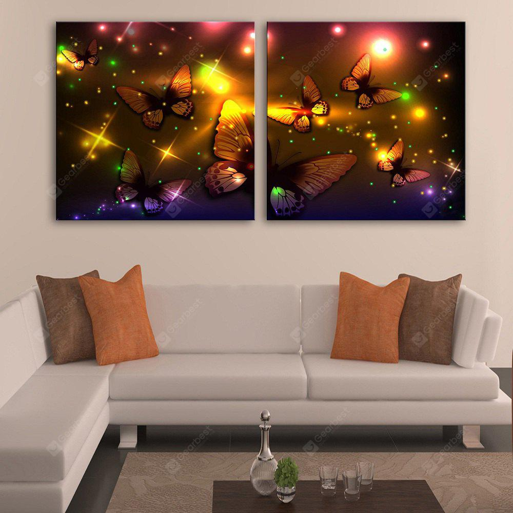 YELLOW + PURPLE YC Stretched LED Canvas Print Art The Colour Butterfly Flash Effect Optical Fiber Print 2pcs