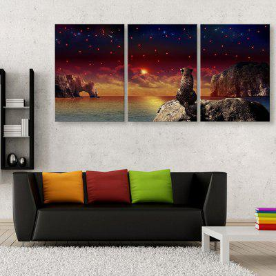 YC Stretched LED Canvas Print Art The Cheetah Flash Effect Optical Fiber Print 3pcs