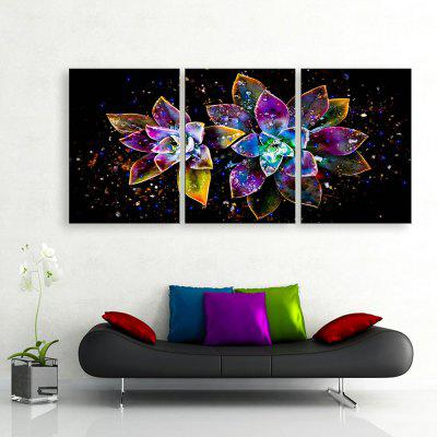 Buy PURPLE + ORANGE YC Stretched LED Canvas Print Art The Abstract Flowers Flash Effect Optical Fiber Print 3pcs for $179.96 in GearBest store