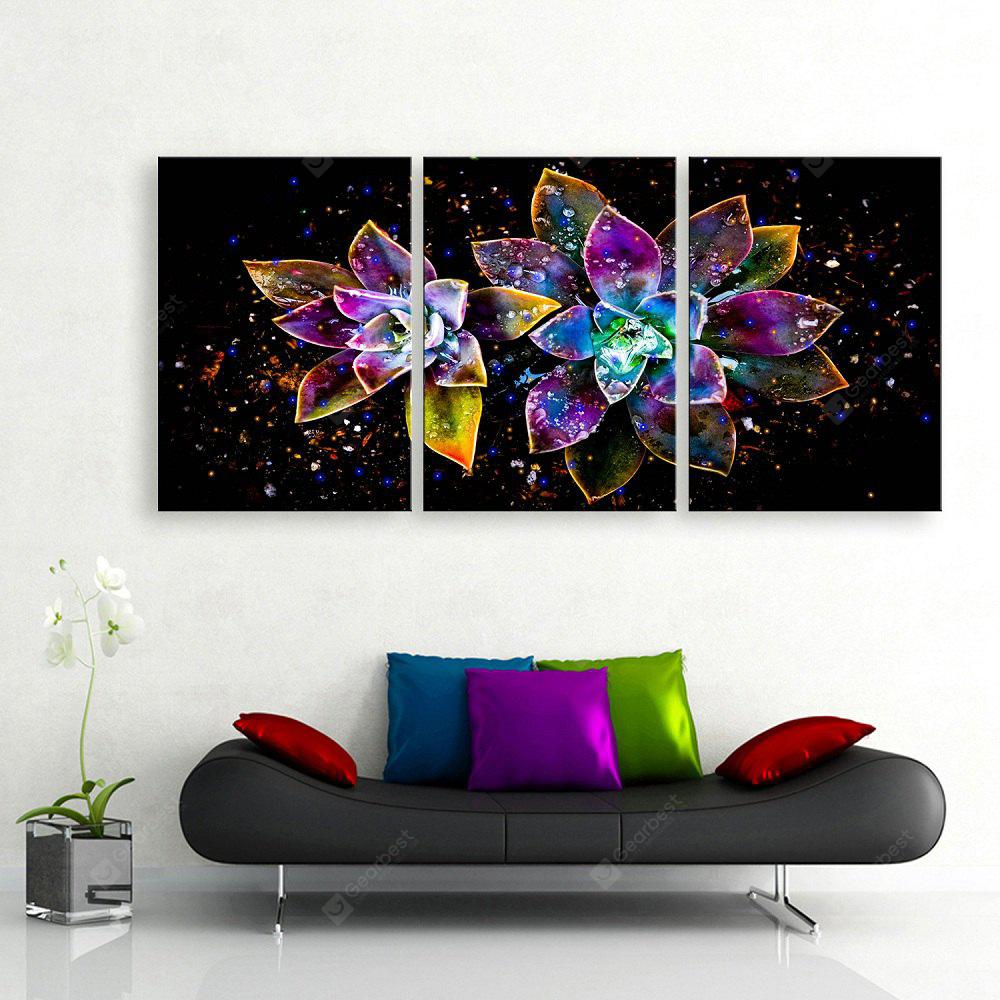YC Stretched LED Canvas Print Art The Abstract Flowers Flash Effect Optical Fiber Print 3pcs