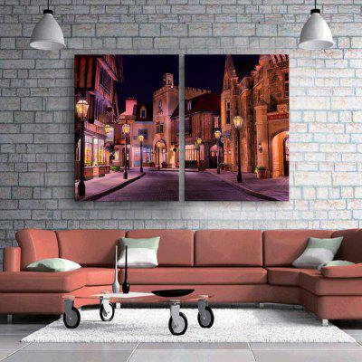 YC Stretched LED Canvas Print Art The Street Flash Effect Optical Fiber Print 2pcs