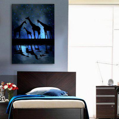 Buy BLACK AND BLUE YC Stretched LED Canvas Print Art The Giraffe Flash Effect Optical Fiber Print 1pc for $52.37 in GearBest store